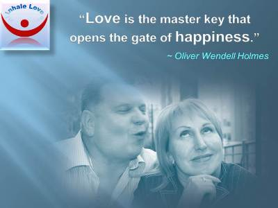 Love Quotes at Inhale Love: Love is the master key that opens the gate of happiness
