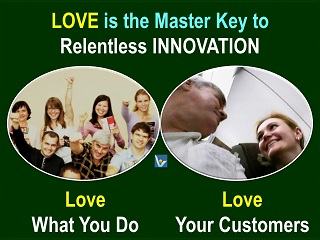 Love Innovation passion, love your work, love customers, Vadim Kotelnikov innovation quotes, photogram